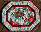 Handcrafted Quilted Table Runner Topper- CHRISTMAS POINSETTIA PINE CONES