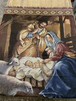 Nativity Holiday Christmas Throw Blanket With Fringe By Mohawk