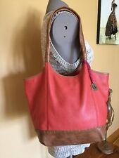 THE SAK 'INDIO' Orange Red Leather Hobo Bucket Slouch Tote Shoulder Bag Purse