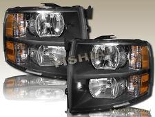 07-13 Chevrolet Silverado 1500 2500HD 3500HD Pickup Black Clear Headlights