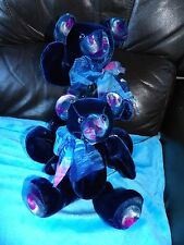 💗 collectionneurs lot de 2 peint à la main velours bleu lou lou ours hand crafted 💗
