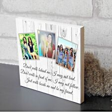 Personalised Best Friend Sister Plaque Wooden Keepsake Photo Block Present Gift