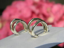 John Hardy Sterling Silver Diamond Nature Bamboo Hoop Huggie Earrings