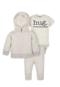 Gerber Organic Cotton 3 Piece Outfit Hugs Jacket Pants 0-3 Months NWT