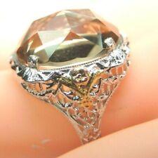 Antique Vintage Estate Oval Citrine Ring 10K White Gold Ring Size 7.5 UK-O1/2