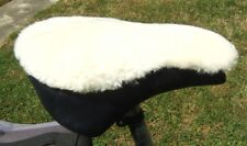 IVORY Sheepskin NARROW Bicycle Seat Cover with foam insert Approx20cm Wx 28cm L)