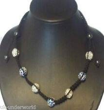 Shamballa Necklace Crystal Disco Ball Rhinestone Clay Cord Macrame Fashion