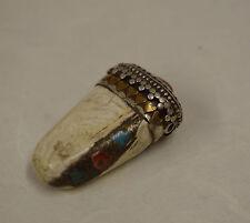 Tibet Conch Shell Coral Etched Repoussé Silver Brass Pendant