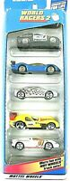 """HOT WHEELS 1998 Mattel 5 Vehicle Pack 1:64 Scale WORLD RACERS 2 Unopened """"MINT"""""""