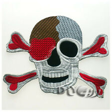 """Skull Cross Bones Red Eye Heart Embroidered Sew Iron on Badge Patche Applique 7"""""""