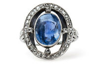 Victorian Estate 1.25 Ct Rose cut Diamond Blue Sapphire 925 Sterling Silver Ring