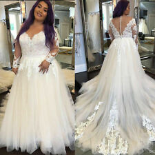 Plus Wedding Dresses V-Neck Bridal Gowns Long Sleeve Sweep Train White Ivory New