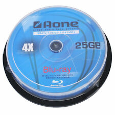10 x AONE BLURAY BLU-RAY FULL FACE PRINTABLE BLANK DISCS 25GB 4x BD-R