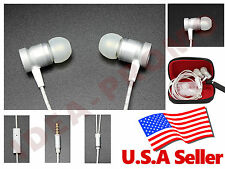 3.5mm Aluminum In-Ear Earphone Headphone headset Earbuds Music with Mic - Silver