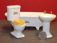 Dollhouse Miniature Ceramic Bathroom Tub Sink Toilet 1:12  H81 Dollys Gallery