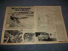"1972 Chevy Nova Vintage Road Test Info Article ""We've Changed: Nova Hasn't"""