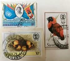 Swaziland 3 postage stamp collectors item Yellow Pansy,United Nations,Red Bishop