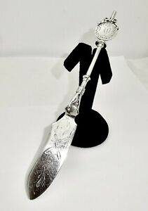ANTIQUE GORHAM LADY'S PATTERN AESTHETIC STERLING SILVER MASTER BUTTER KNIFE,7.75