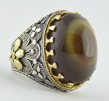 Yemen Sulemani Brown Aqeeq Agate Yemeni Silver Men Ring خاتم عقيق سليماني يمني
