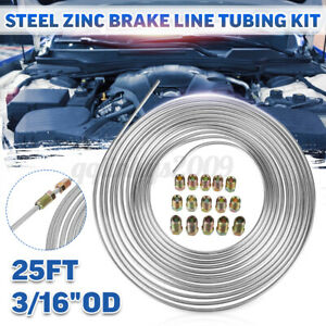 25Ft Coil Roll 3/16''OD Steel Zinc Brake Line Fuel Tubing Pipe Kit & 15 Fittings