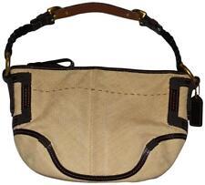Coach Beige Raffia Straw and Brown Leather Hobo Handbag Purse