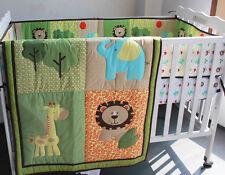 Baby Bedding Crib Cot Quilt Set- NEW 6pcs Quilt Bumper Sheet Dust Ruffle