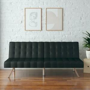 Tufted Convertible Faux Leather FUTON SOFA BED Full Size Sleeper COUCH Foldable