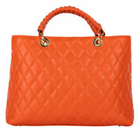 Leder Handtasche Schultertasche geteppt Orange Italien Handbag leather quilted