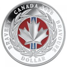 2006 $1 Medal of Bravery - Pure Silver Coin- Red Enamel