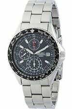 SEIKO Chronograph SND253 SND253P1 Mens Slide Rule 100m Steel Black Dial Watch