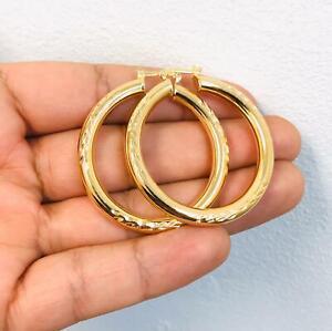 """Argollas Arracada de Oro Laminado 14K Con Corte de Diamante apara Mujer 1.8x1.6"""""""