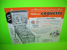 Williams COQUETTE 1962 Original Pinball Machine Flipper Game Sales Flyer RARE
