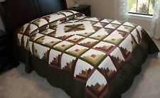 NEW~ AMISH QUILT HANDMADE PATCHWORK FROM LANCASTER PA. LOG CABIN 103x114