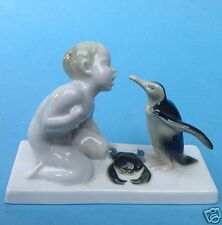 Rosenthal Porzellanfigur Brotneid Putto Krabbe Pinguin Ferdinand Liebermann~1911