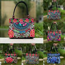Women Handbag Embroidery Ethnic Handmade Flowers Ladies Tote Shoulder Bags HY