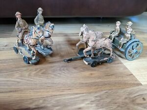Antique 1930's Composition German Soldiers With Horse Drawn Carriage