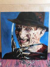 Nightmare Elm Street Freddy Kruger Horror Hand Painted Art Signed Canvas