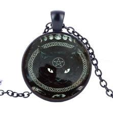 Vintage Alice in Wonderland cat Cabochon Glass Pendant Black Chain Necklace #3