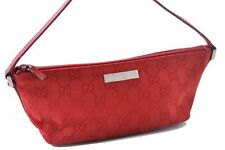 Authentic GUCCI Hand Pouch GG Canvas Leather Red A4775