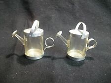 Vintage Clear Plastic Metal Trim Watering Can Salt and Pepper Shakers 55