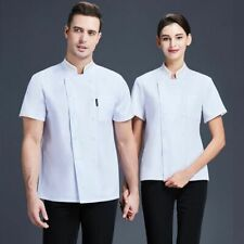 Double Breasted Buttons Close Stand Collar Short Sleeves Chef Jacket Uniform New