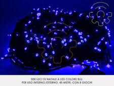 Serie 500 luci di Natale a led blu 40 mt catena 8 giochi per esterno e interno