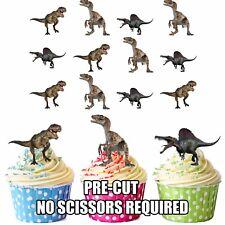 PRECUT dinosaurios carnívoros 12 Comestible Cupcake Toppers Torta Decoraciones Cumpleaños