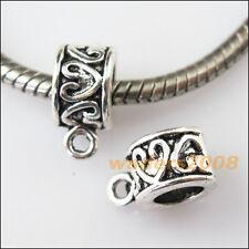 10 New Heart Tibetan Silver Bail Bead Fit Bracelet Chrams Connectors 8.5x12.5mm