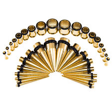 Ear Stretching Kit Ion Plated Gold Tapers & Plugs  14G-00G  36 Pieces