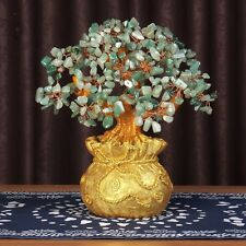 Money Wealth Bag Feng Shui Lucky Tree Natural Green Dongling Jade Crystal Tree