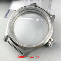43MM Stainless Steel Watch Case Sapphire Crystal Fit ETA 6497 6498 Movement