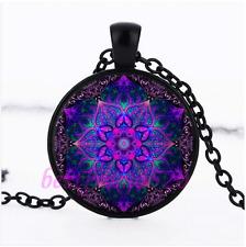 Mandala Flower Photo Glass Pendant Black Necklace for man woman Jewelry