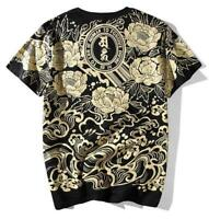 Mens T-Shirt Japanese Chic Allover Tee Tattoo Gangster Printing Brave Troops