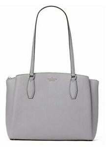 New Kate Spade Monet Large Triple compartment Tote Leather Nimbus Grey